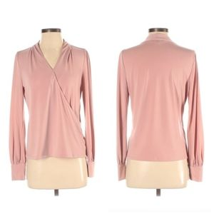 Adrianna Papell blush pink faux wrap top Small